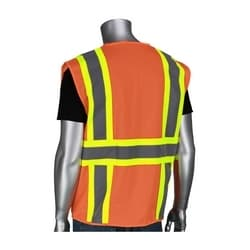 Class 2 Mesh Vest, 6 Pockets, Zipper, Mic Tabs, Two Tone Tape, OR, 4XL