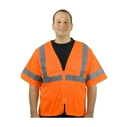 Class 3 Mesh Vest, 4 pockets, Zipper Closure, 2in. Tape, Orange, 4XL