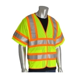 Class 3 Treated Poly, Mesh Vest Hook & Loop Closure, 2 Pocket, FR Tape, Yellow, 5XL