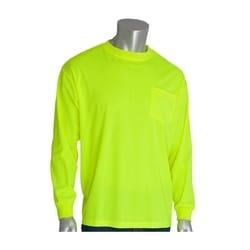 Non-ANSI, Long Sleeve T-shirt, Crew Neck, Chest Pocket, Yellow, 4XL