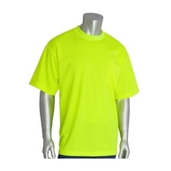 Non-ANSI, Short Sleeve T-shirt, Crew Neck, Chest Pocket, Yellow, 4X