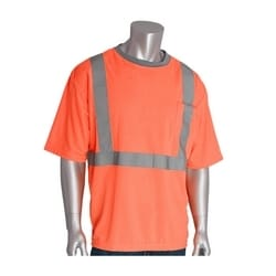 Class 2 Short Sleeve T-shirt, Crew Neck, Chest Pocket, Orange, 4XL