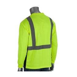 Class 2 Long Sleeve T-Shirt, Black Bottom, UV Block, Yellow & Orange, Large