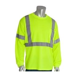 Class 3 Long Sleeve T-shirt, Crew Neck, Chest Pocket, Yellow, Medium
