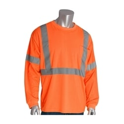 Class 3 Long Sleeve T-shirt, Crew Neck, Chest Pocket, Orange, Large