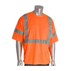 Class 3 Short Sleeve T-shirt, X-Back, Crew Neck, Chest Pocket, Orange, 2XL