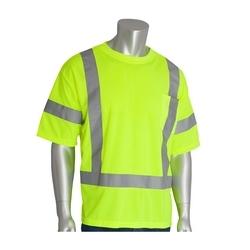 Class 3 Short Sleeve T-shirt, Crew Neck, Chest Pocket, Yellow, 4X