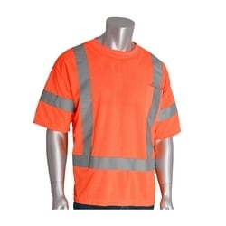 Class 3 Short Sleeve T-shirt, Crew Neck, Chest Pocket, Orange, 2X