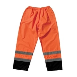 Class E PU Poly Over Pant, Two Pocket, Two Tone with Tape, Orange, Large