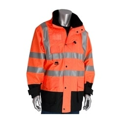 Class 3 Coat 7in1, Insulated Inner Jacket, Zip. Cl. Hd, 2in. Tape, Orange, Large