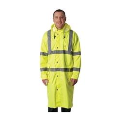 Class 3 Rain Coat 48in., PU Ctd, Zipper, Hood, 2in. Tape, Yellow, Medium