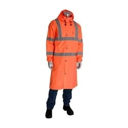 Class 3 Rain Coat 48in., PU Ctd, Zipper, Hood, 2in. Tape, Orange, 3XL
