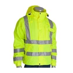 Class 3 Rain Jacket, W/B PU Ctd, D-ring , Zip Cl. Hd. 2in. Tape, Yellow, 4XL
