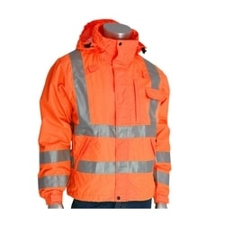 Class 3 Rain Jacket, W/B PU Ctd, D-ring , Zip Cl. Hd. 2in. Tape, Orange, Large