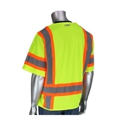 Class 3 Mesh Breakaway Vest, 4 pockets, Hook & Loop Closure, Two Tone Tape, Yellow, 5XL