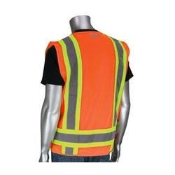 Class 2 Solid/Mesh Vest, Zipper, 8 Pockets, Mic Tab, Two Tone Tape, Orange, 7XL