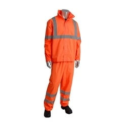 Class 3 Rainsuit, 2 piece, PU Ctd, Zipper, Hood, Pant, 2in. Tape, Orange, 3XL