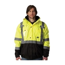 Class 3 Rip Stop Black Trim Bomber Fleece Liner, Zipper, 2in. Tape, Yellow, Small