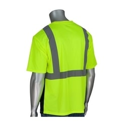 Class 2 Short Sleeve T-shirt, Black Bottom, UV Block, Yellow & Orange, Large