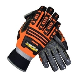 Roustabout II, Hi-Vis Orange, Dorsal Protection, Silicone Grip on Palm, Medium