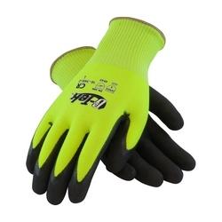 G-Tek CR, Hi-Vis Lime PolyKor Shell , DD Black Nitrile, EN5, XL
