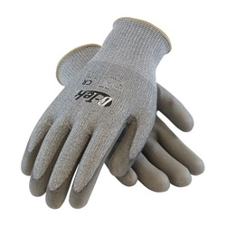 G-Tek CR, Gray. PolyKor Blended Shell, Gray. PU Coated Palm, EN5, Medium