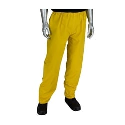 Rain Pant .35mm PVC/Polyester, Elastic Waist, Yellow, Small