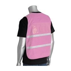 Non-ANSI IC Vest, Pink Polyester, Hook & Loop Closure, 1in. White Gloss Tape, 2XL-3XL