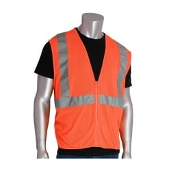 Class 2 Mesh Vest, No Pockets, Zipper Closure 2in. Tape, Yellow, 3X