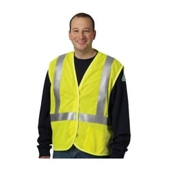 AR/FR Class 2 Mesh Vest, 5.5 Cal, FR Tape, Hook & Loop Closure, Yellow, Medium