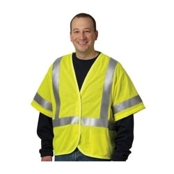 AR/FR Class 3 Mesh Vest, 5.5 Cal, FR Tape, Hook & Loop Closure, Yellow, Medium