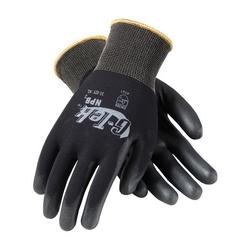 G-Tek, 13G Black Nylon Shell, Black Extra Thick PU Coating, XS