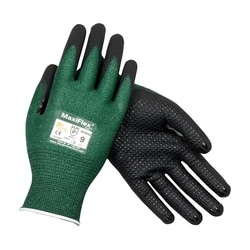 MaxiFlex Cut, Green Engineered Yard, Black MicroFoam Nitrile Dot Coat, EN3, Small