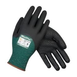 MaxiFlex Cut, Green Engineered Yard, Black 3/4 MicroFoam Nitrile Dot Coat, EN3, Medium