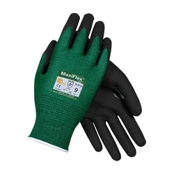 MaxiFlex Cut, Green Eng Yarn, Black Nitrile MicroFoam Grip, A2/EN3, 3XL