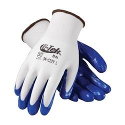 G-Tek, 13G White Nylon Shell, Blue Solid Nitrile Coated Palm, Large