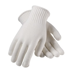 Cotton/Polyester, 7G , Med Weight, Bleached White, Large