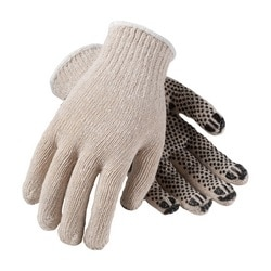 FingerNails , Cotton/Poly 7G HW, Coated Finger Tips, 1 Side Black Dot, Small