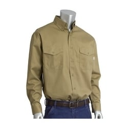 AR/FR Dual Cert. 7oz. 8 Cal Work Shirt, NFPA 70E & 2112, Khaki, Medium