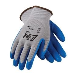 G-Tek 10G Gray. Cotton/Polyester Shell, Blue Latex Crinkle Coating, XL