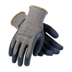 10G Gray. Cotton/Polyester Shell, Blue Latex w/MicroFinish Grip, Large