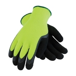 Hi-Vis Lime Green Acrylic Terry Shell, Black Latex Foam Finish, Large