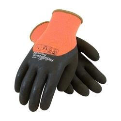 Hi-Vis Orange Acrylic Terry Shell, 3/4 Dip Brown MicroFinish Grip, XL