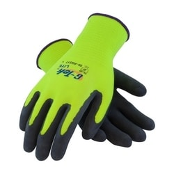 G-Tek, 15G HV Yellow. Shell, Black MicroSurface Latex Coating, 2XL