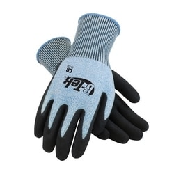 G-Tek CR, Blue & White 13G PolyKor Shell, Black Nitrile Palm, EN3, 2XL