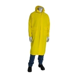 Raincoat 48in. .35mm PVC/Poly, Hood, Corduroy Collar, Yellow, Small