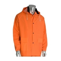 Rainsuit 3pc. .35mm PVC/Polyester, Hood, Corduroy Collar, Hi Vis Orange, 5XL