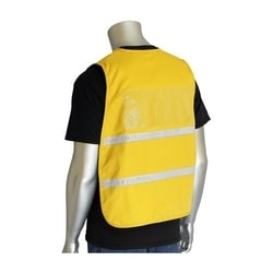 Non-ANSI IC Vest, Yellow, Poly/Cotton, Hook & Loop Closure, 1in. White Gloss Tape, 2XL-3XL