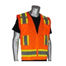 Class 2 Solid Vest, Zipper, 8 Pockets, Mic Tab, Two Tone Tape, Orange, Medium