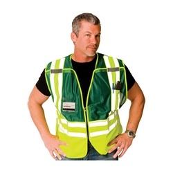 ANSI 207 PSV Vest, ID Pckts, Breakaway Zipper Closure, 2x1in. Reflec. Green, XL